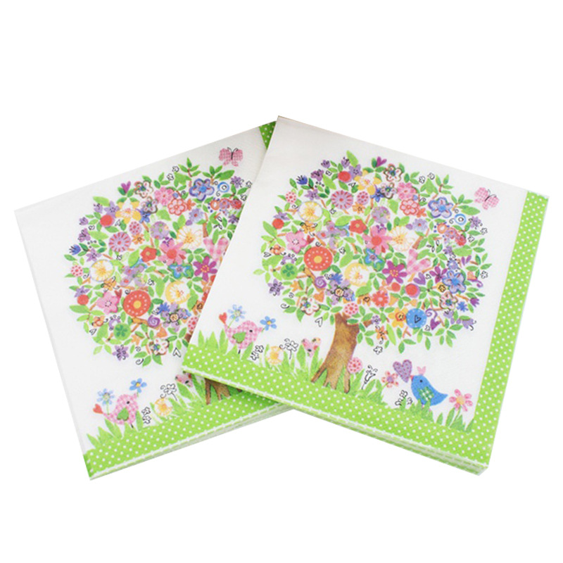 Green Tree Fresh Paper Napkin Festive & Party Cafe Tissue Napkins Decoupage Decoration Paper 33cm*33cm 20pcs/pack/lot