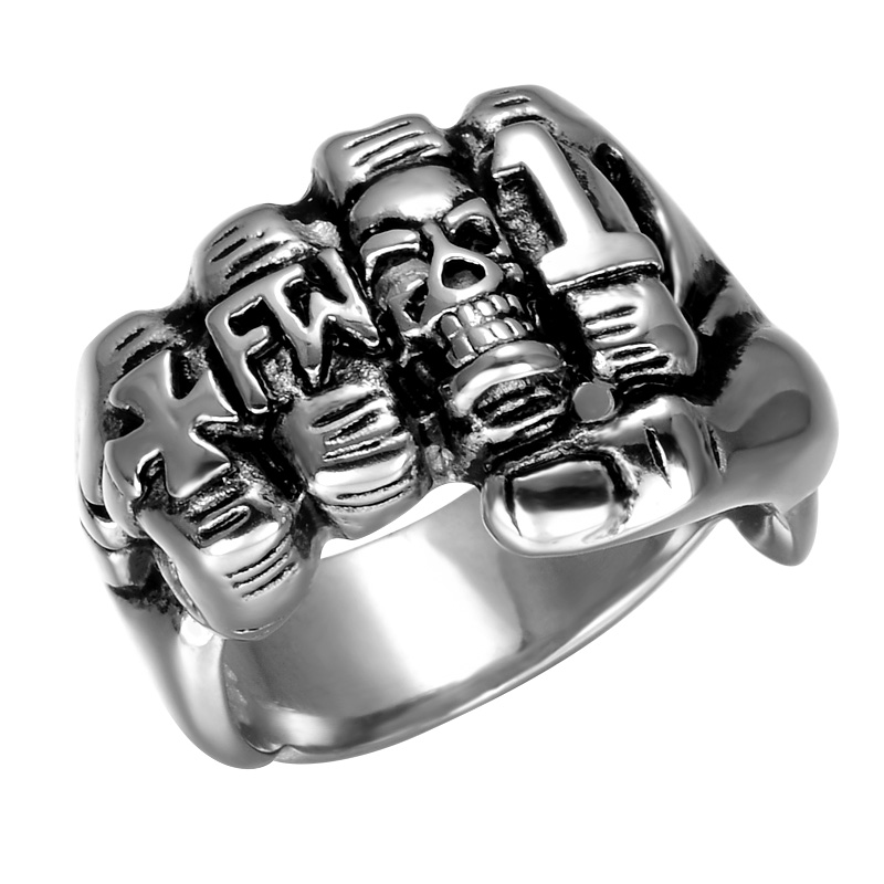 Cool Fist Finger Biker Ring Punk Gothic Gold Silver Titanium Stainless Steel Unique Cross Skull Rings for men Jewelry