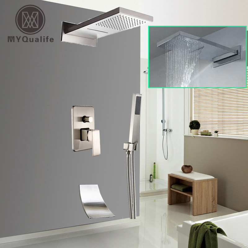 Brushed Nickel Waterfall Rain Shower Faucet One Handle Bath Shower Faucet Waterfall Spout Shower Column цена 2017