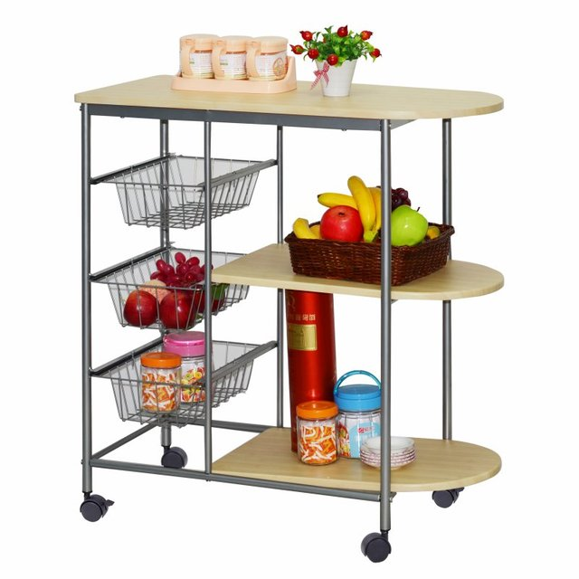 Fashion movable small table restaurant kitchen shelving storage rack ...