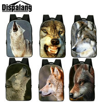 Dispalang cool wolf printed adult backpacks 17 inch big schoolbags for high school students men's business travel laptop bagpack