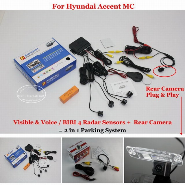 For Hyundai Accent MC 2005~2011 - Car Parking Sensors + Rear View Back Up Camera = 2 in 1 Visual Alarm Parking System