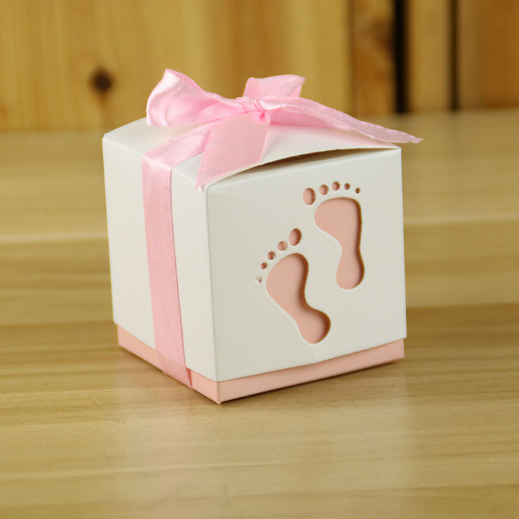100pcslot Fashion Baby Foot Candy Box Baby Shower Paper Sweet Bag