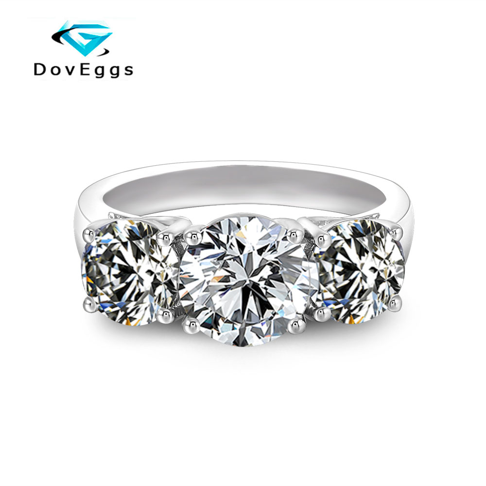 DovEggs Classic simplicity 3 Stone Engagement Ring for Women Center 2ct 8mm Slight Grey Moissanite Ring