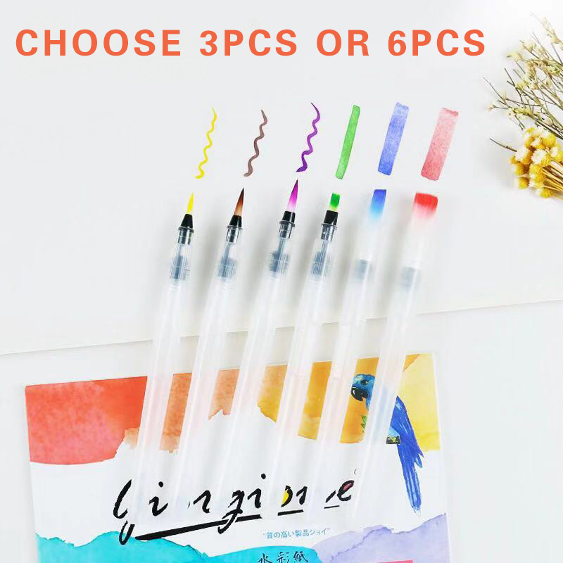 Water Coloring Brush Pens, Set Of 6 Watercolor Painting Brushes For Water Soluble Colored Pencils, WaterColor Brush Pen