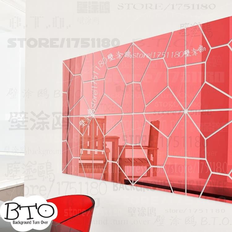 Хит продаж, абстрактные 3d зеркальные настенные наклейки в форме кристалла, для спальни, гостиной, дивана, настенные наклейки, декор для сало... - 3