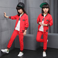 Fashion Children Clothing Set 2017 Spring Suit for Girls Solid Color Threaded Sleeve Jacket & Pants Teens Children Clothing
