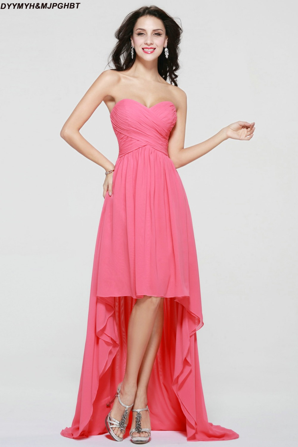 Fashionable short front and long back sweetheart pleat top fashionable short front and long back sweetheart pleat top asymmetrical hot pink bridesmaid dresses in bridesmaid dresses from weddings events on ombrellifo Image collections