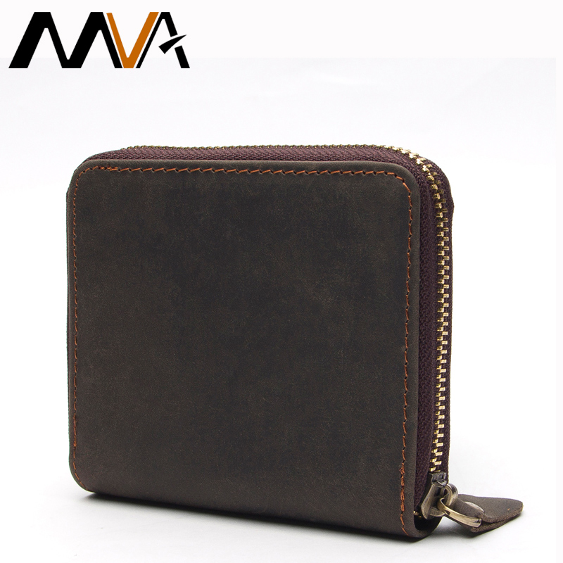 MVA Leather Wallet with Coin Pocket Card Holder Purse Genuine Leather Men Wallets Men's Short Wallets Carteira Male Purse bogesi men s wallets famous brand pu leather wallets with wallet card holder thin slim pocket coin purse price in us dollars