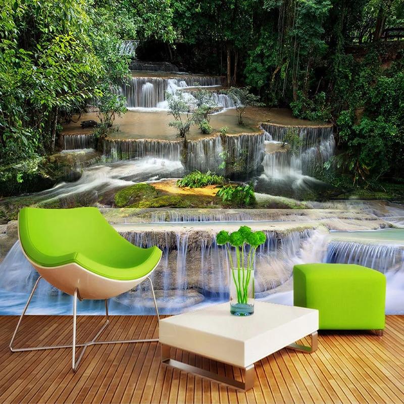 Custom 3D Wallpaper Murals Waterfall Nature Landscape Photo Wall Mural Study Room Living Room Sofa TV Background Papel De Parede