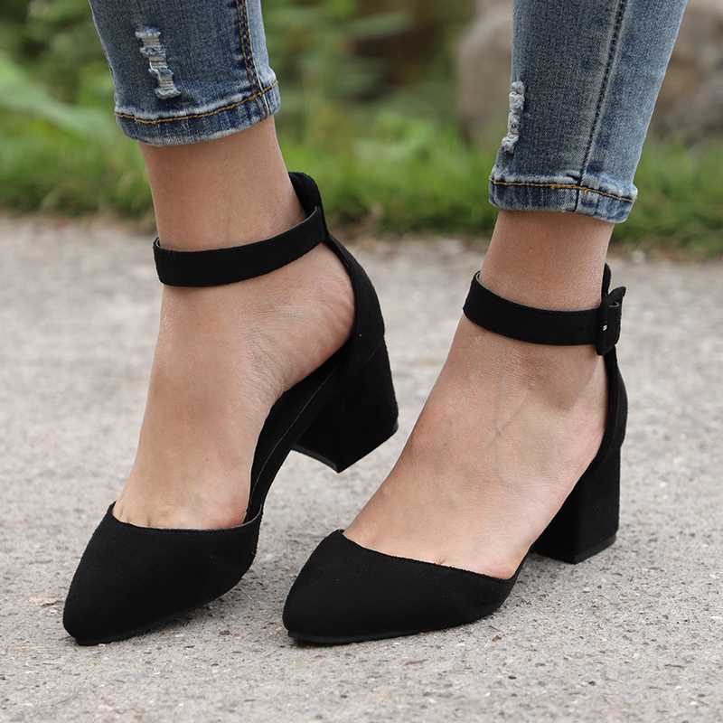Women Sandals Block-Heels Ankle-Strap Summer Shoes Plus-Size Casual with 3cm Mujer Female