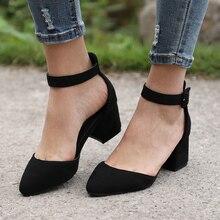 e4fc94cedc Mulheres Sandálias Com 3 cm Saltos Bloco Sapatos Casuais Mulheres com Tira  No Tornozelo de Verão Sandalias Mujer Plus Size 2019 .