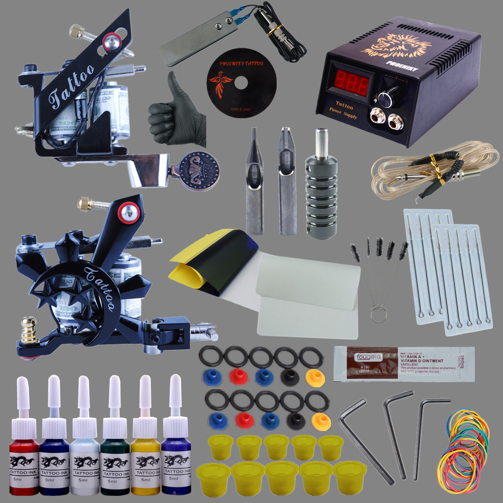 Complete Tattoo Kit 1x Liner Tattoo Machine & 1x Liner Shader Tattoo Gun 6 Color Inks 10pcs Needles Body Tattoo Art