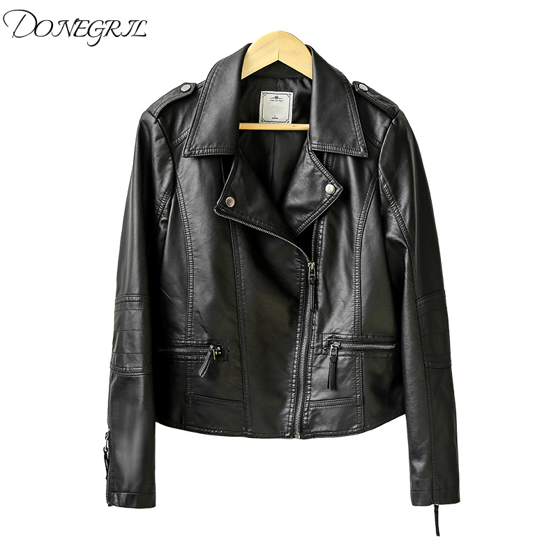 2018 New Spring Autumn Feminine   Leather   Jackets Short Women Motorcycle PU   Leather   Coats Zipper Stand Collar Slim Black Outwear