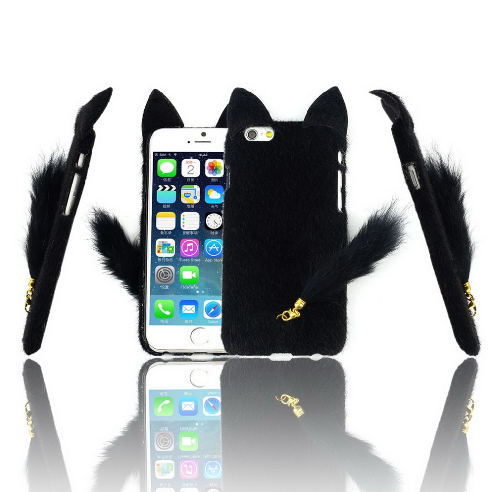 """1PCS 3D Cute Lovely Fluffy Tail Cat TPU Case Cover Skin for iPhone6 4.7"""" Case Hot Worldwide"""