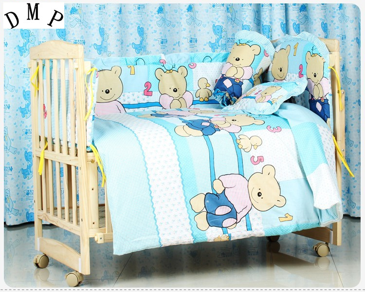 Promotion! 7pcs Wholesale and Retail Children Cot Sets,Baby Bed Accessories for Bed Linen (bumper+duvet+matress+pillow)