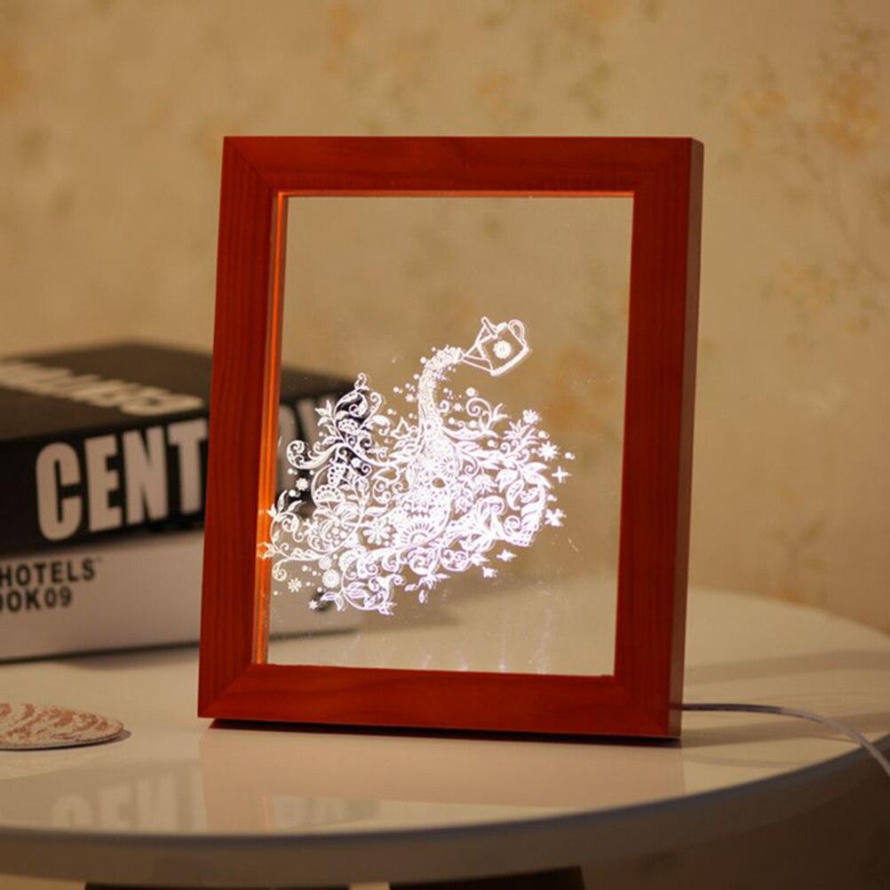 3d led light wood bird picture frame desk lamp room decoration usb night lights bedroom decor