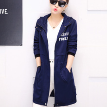 trench coat for women spring and autumn Long design fashion hooded full sleeve windbreaker blue