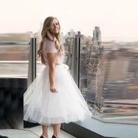 Pure White Tulle Skirt A Line Tee Length Midi Skirt Summer Modern Fashion Women Skirts