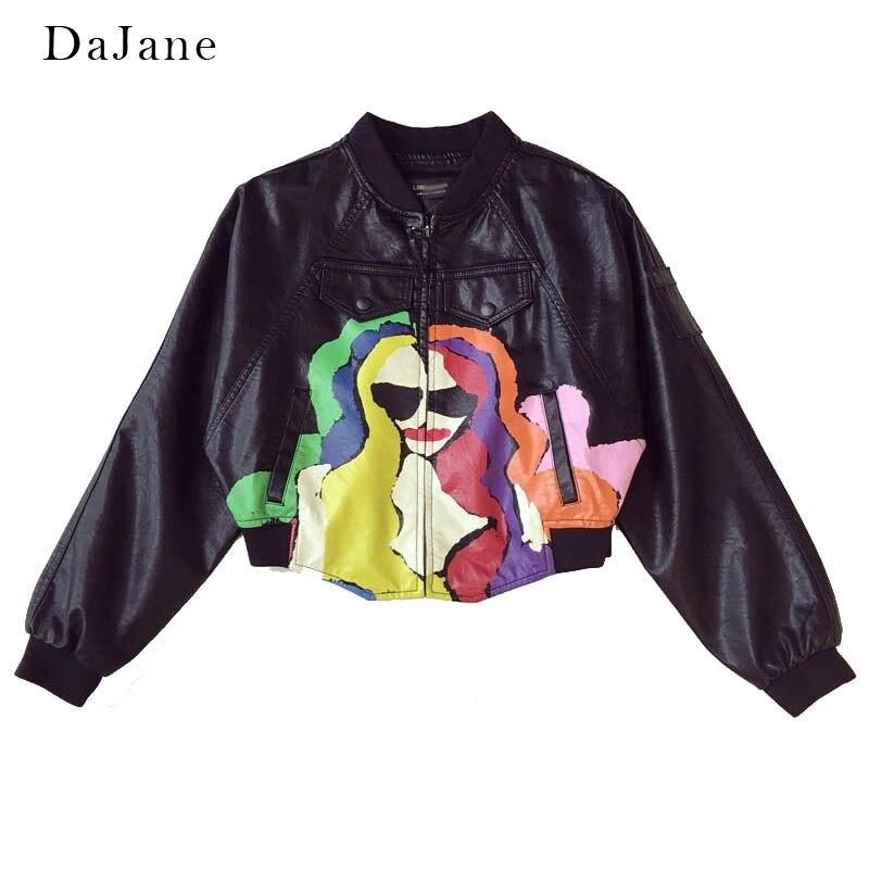 DaJane New Korean Version Of The Loose Portrait Graffiti Pu   Leather   Women Short Print Bat Sleeve Tide Jacket