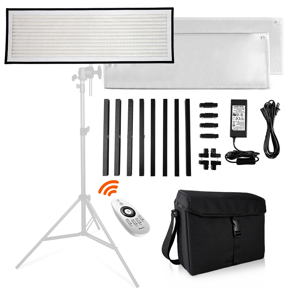 Travor FL-3090 1x3' 30x90cm Daylight LED Light Panel 5500K Dimmable Photography Light with Soft Cloth Remote Control and Bag цена