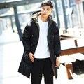 Russian Style Color Sólido Con Capucha Acolchada Gruesa Parka Hombres 2016 Nuevo otoño Invierno Casual Larga y Suelta Con Capucha Abrigos Para Hombre Más Tamaño