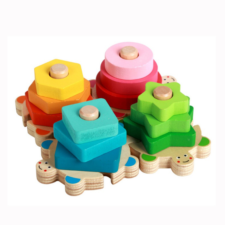 Baby Learning Educational Wooden Toys Geometric Shape Blocks Column Board Tortoise Sorting Matching Montessori Kids Gifts 4142