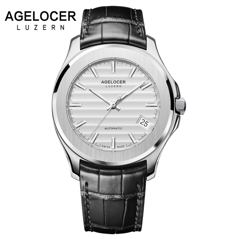 Switzerland Men Automatic Mechanical Watches Swiss AGELOCER Silver Stainless Steel Dress Fashion Mens Male Wrist Watch Clock ysdx 398 fashion stainless steel self stirring mug black silver 2 x aaa