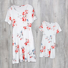 Floral Printed Mom and Kid Matching Dress