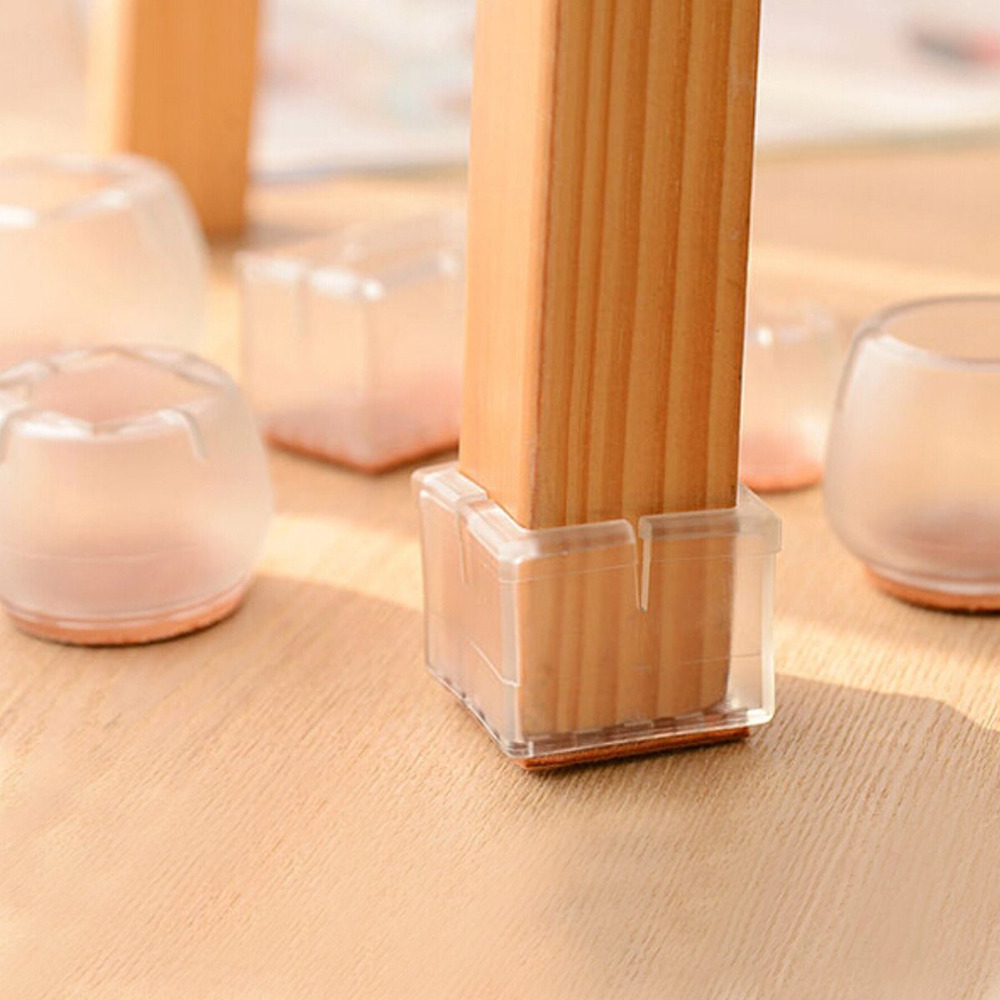 4pcs Plastic Square Bottom For 30-35mm Chair Leg Foot Protect Pad Furniture Table Base Cap Cover Antiskid Floor Protection NO.8