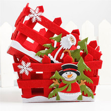 1pcs Christmas Candy Basket Ornament Christmas Eve Apple Gift Basket Xmas Fruit Basket Christmas New Year Decoration
