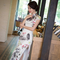 New Arrival Vintage Chinese Style Women Long Silk Cheongsam Qipao Summer Novelty Print Sexy Dress S