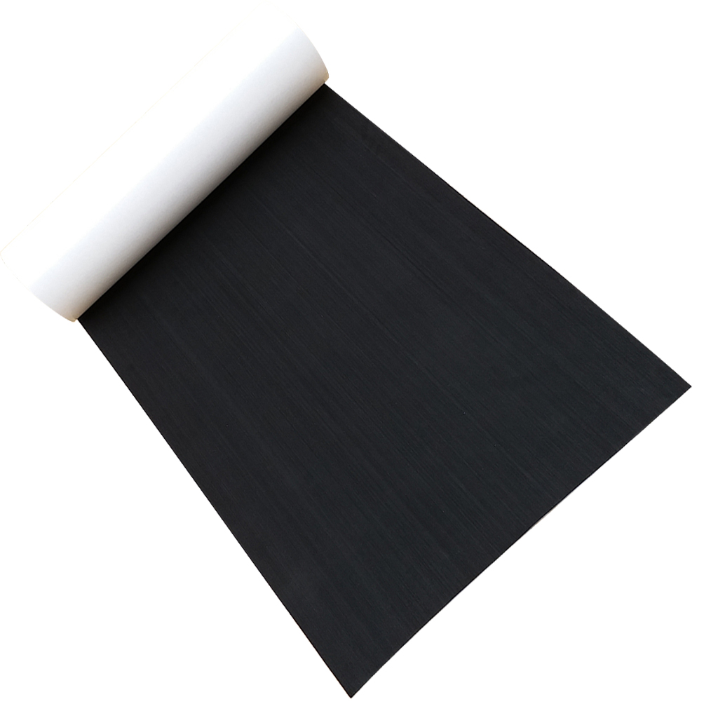 Durable Deluxe EVA Faux Teak Decking Sheet For Boat Yacht Non-Slip & Self-Adhesive Boat Flooring Pad 94.5 X 26 X 0.2 Inch Black