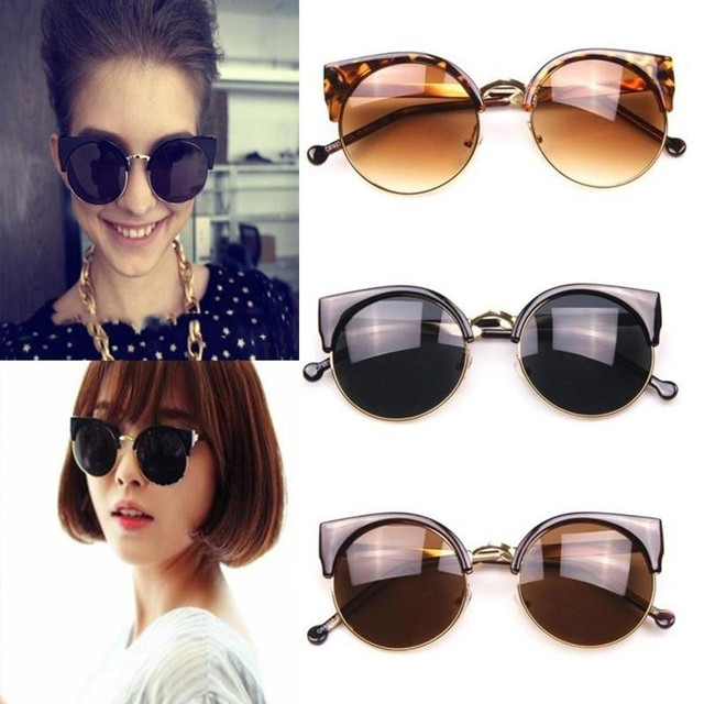 1f3bcd0fc3d60 Fashion Vintage Cat Eye Sunglasses Women Designer Retro Super Round Circle  Semi-Rimless Sun Glasses Gafas Oculos de sol Feminino
