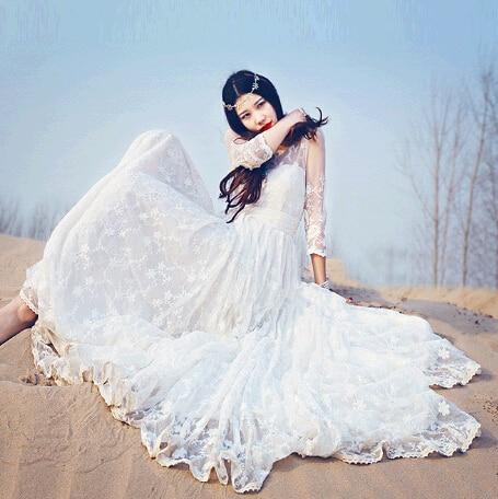 Aliexpress.com : Buy Women Dress Casual Ethnic White Lace Maxi ...
