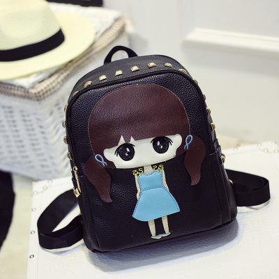 2015 mujeres calientes de impresión mochilas mochila mochila de la pu de cuero informal remache bolsos de viaje
