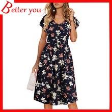 Summer dress women 2019 hot sale empire A-line V-neck floral short sleeve Chiffon print casual midi