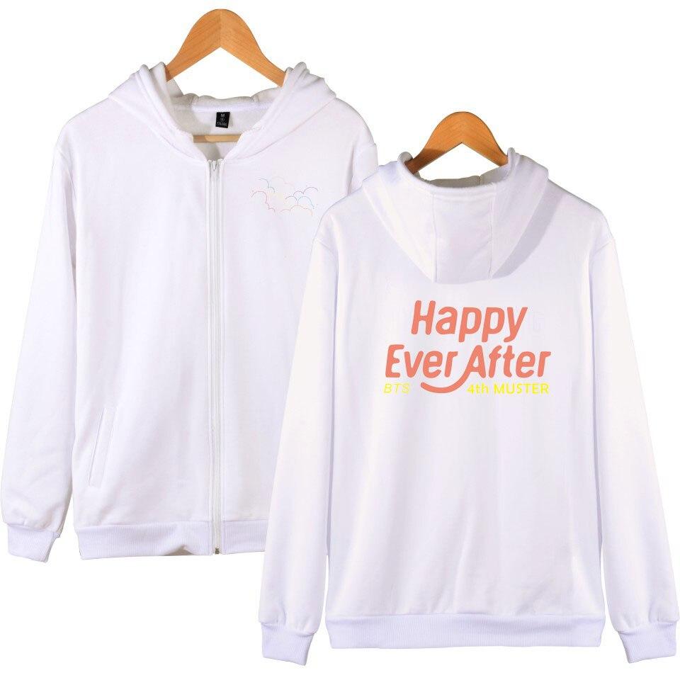 Happy Ever After Zipper Hoodies BTS Women/Men 2018 New Hooded Sweatshirt Print Cap Casual Clothes Hoodie Plus Size XXS-4XL
