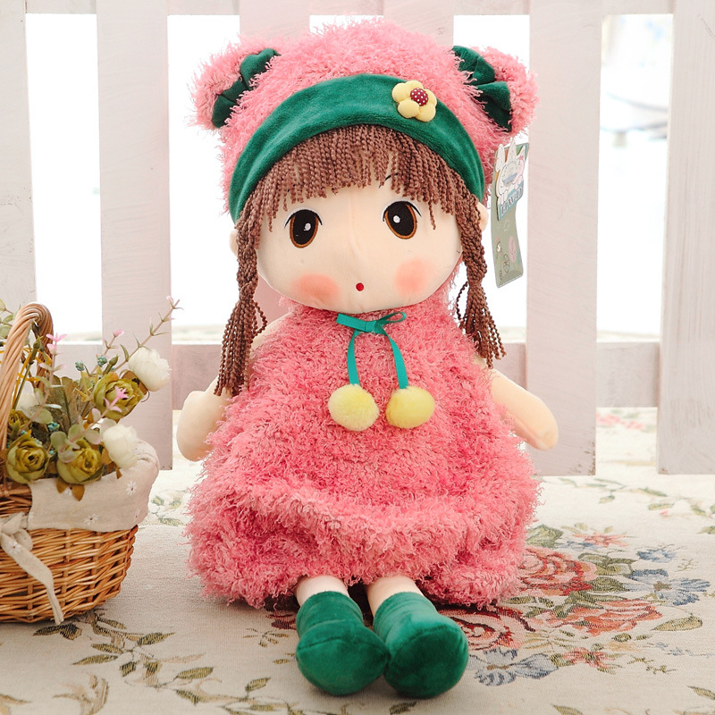 Top quality Plush toy doll cute lovely girl doll for kids toy four different colours and