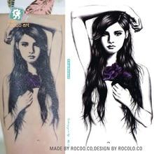 MC712 19X12cm HD Large Tattoo Sticker Body Art Nake Long Hair Girl Temporary Tattoo Terrorist Stickers Flash Taty Tatoo