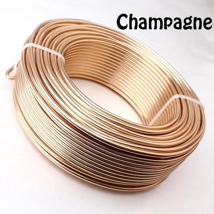 0,5 кг анодированная художественная алюминиевая проволока 2,5 мм 10 Калибр 39 м 43yd цветные украшения Мягкая металлическая проволока постоянные цвета - Цвет: Champagne