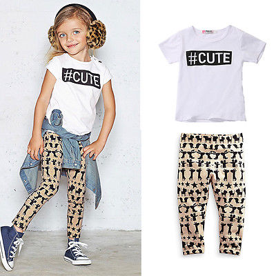Fashion Baby Kids Girls Cute Cartoon Summer Sets Tops Blouse Animal Printed Pants Trousers Outfits 0-5Y
