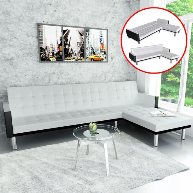 vidaXL L shaped Sofa Bed Artificial Leather White and Black-in ...