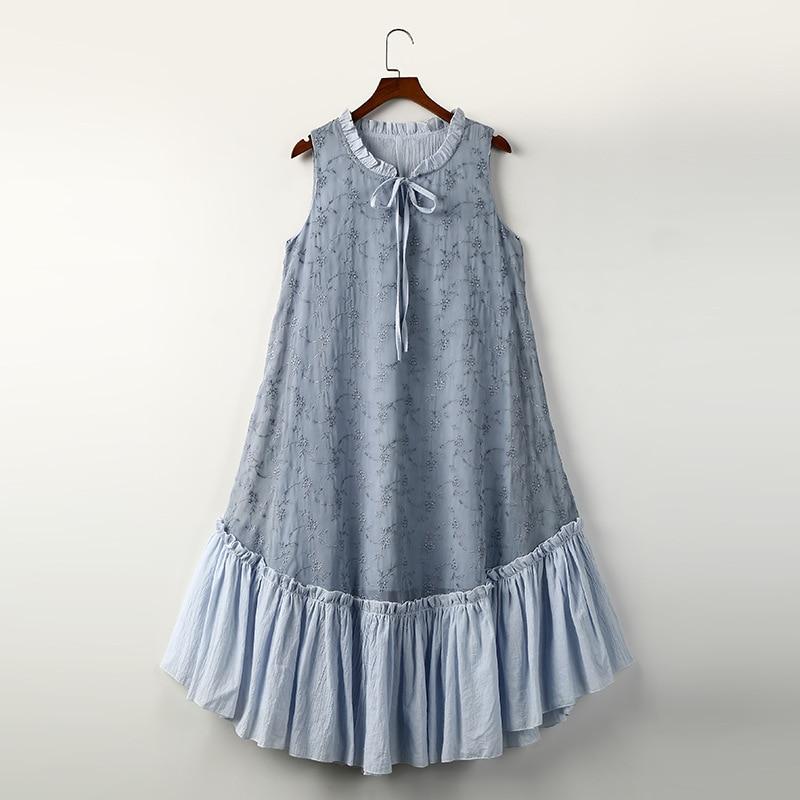 Mori Girl Lolita Vintage Retro Hippie Boho Lace Ruffle Embroidery Bowknot Cotton Linen Chiffon Patchwork Women Summer Tank Dress