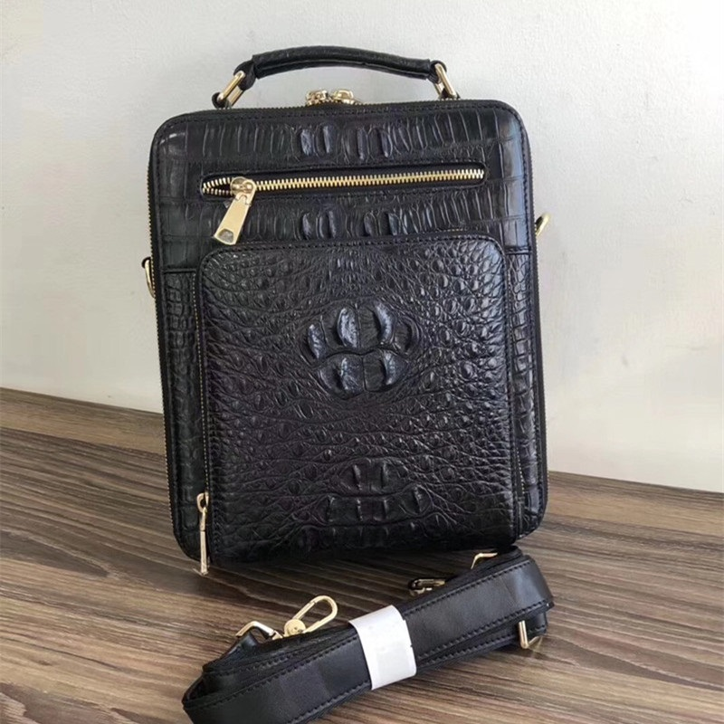 100% Genuine Real Crocodile Leather Head Skin Zipper Closure Men's Small Handbag Male Crossbody Shoulder Bag Man Messenger Bag magnetic closure animal dolls pompon crossbody bag
