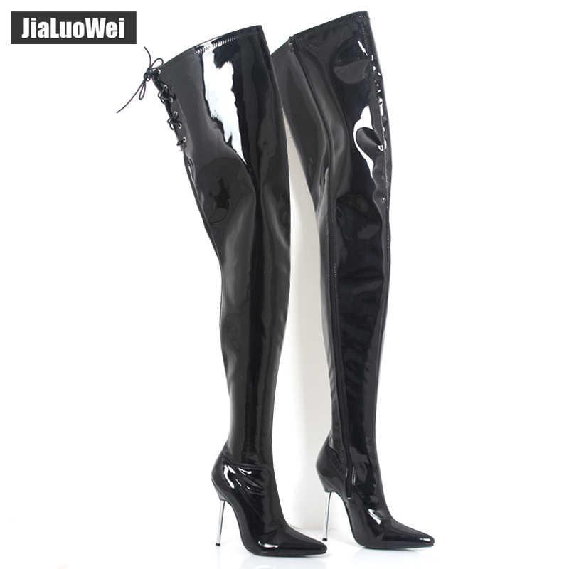 0b620234b1f jialuowei 12cm High Heel Pointed toe Zip PU Leather Metal Thin Heels ...