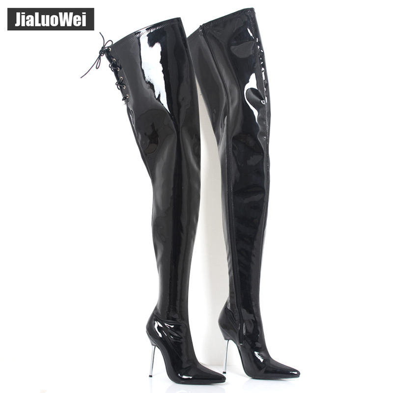 Sex Fetish Unisex Long Boots Extreme High Heel 12cm Overknee Boots Shiny/matte Patent PU Leather thigh high boots FREE SHIPPING