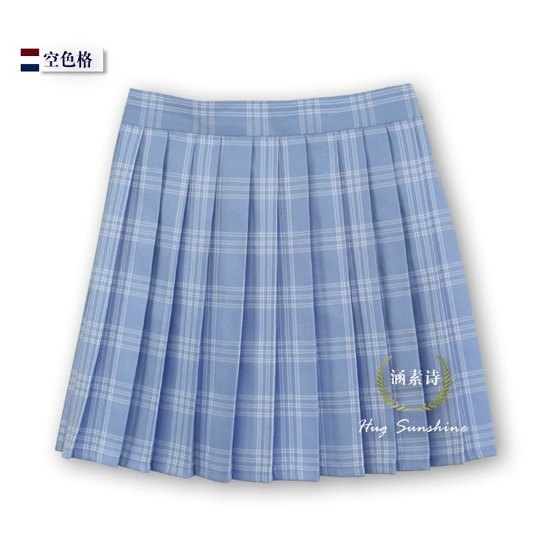 Water blue hollow lattice Grid Womens Pleated skirt New High quality Plaid waist uniform 2017.2.17 arrived