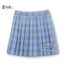Water blue hollow lattice Grid Womens Pleated skirt New High quality Plaid waist uniform 2017.2.17 arrived