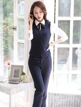 Новый элегантный синий Формальные Единый дизайн женские брючные костюмы жилет и брюки Slim Модная Коллекция 2015 года Демисезонный бизнес-брюки комплект